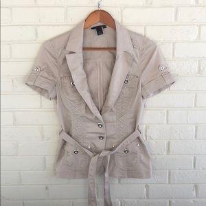 White House Black Market Tan Corset Look Blazer 6